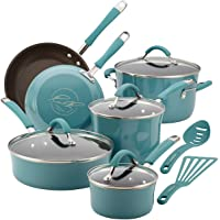 Rachael Ray Cucina Hard Porcelain Enamel Nonstick Cookware Set, 12 Piece