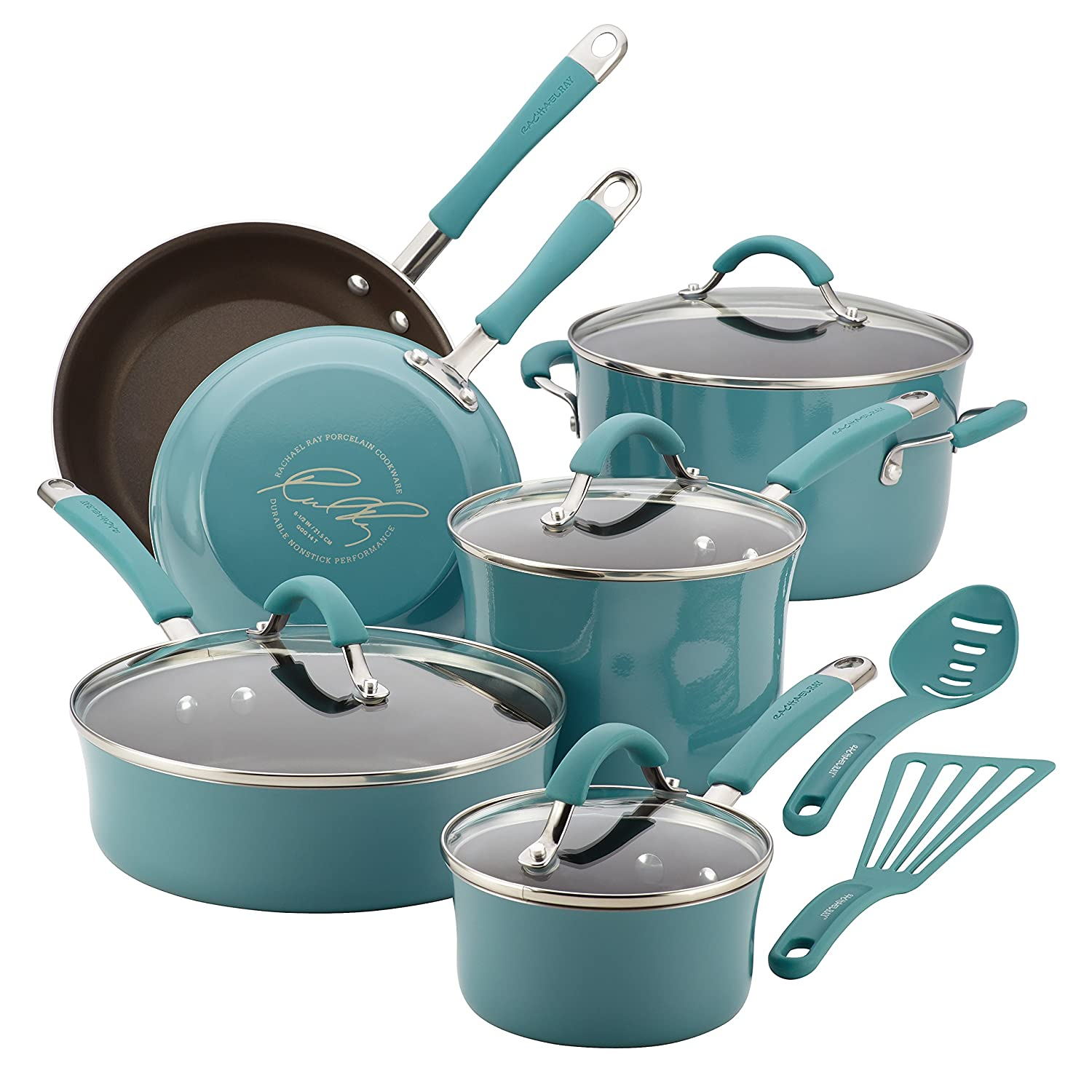 Rachael Ray Agave Blue Cucina Porcelain Enamel 12-Piece Kit Agave Blue