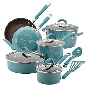 Rachel Ray 16344 Cucina Nonstick 12-Piece Cookware Pots and Pans