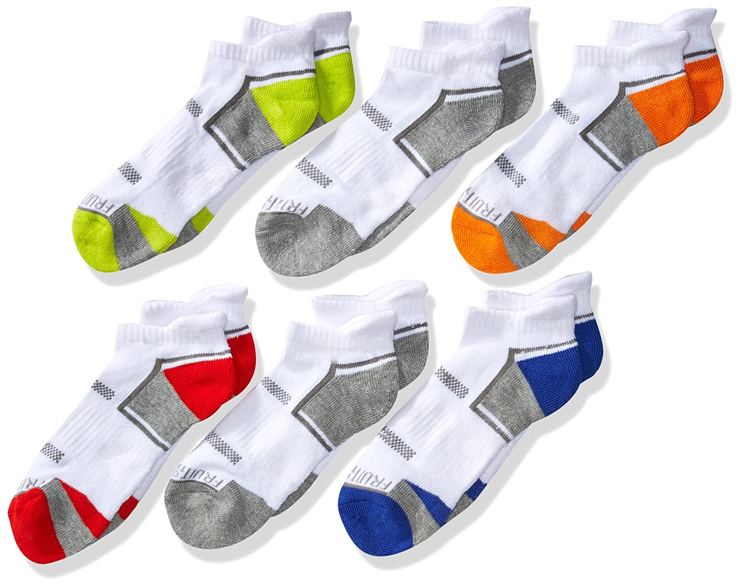 Fruit of the Loom Boys' Big Everyday Active Low Cut Tab Socks-6 Pair Pack FRB10023T6UC001
