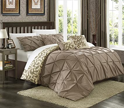 Chic Home 7 Piece Trenton Reversible Contemporary Comforter Set Queen Taupe
