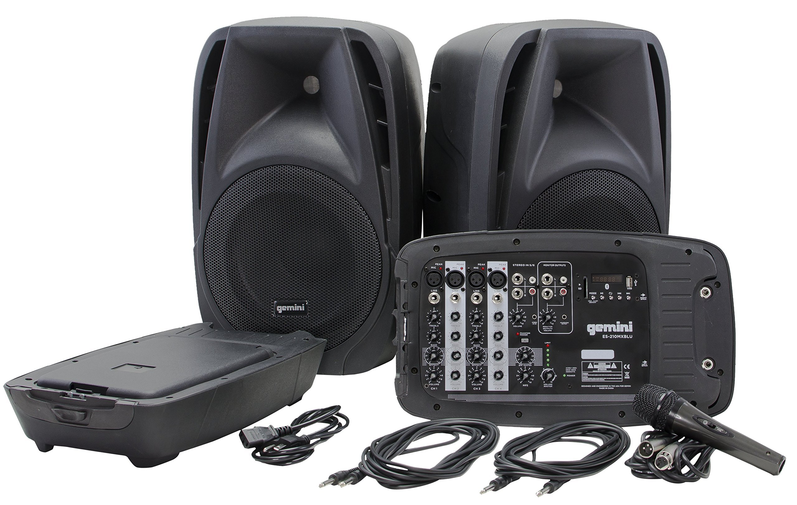 Gemini ES Series ES-210MXBLU Professional Audio Portable PA System with Two 10'' Passive Speakers and Microphone Included, 8 Channel Mixer, 4 Line/Mic Inputs