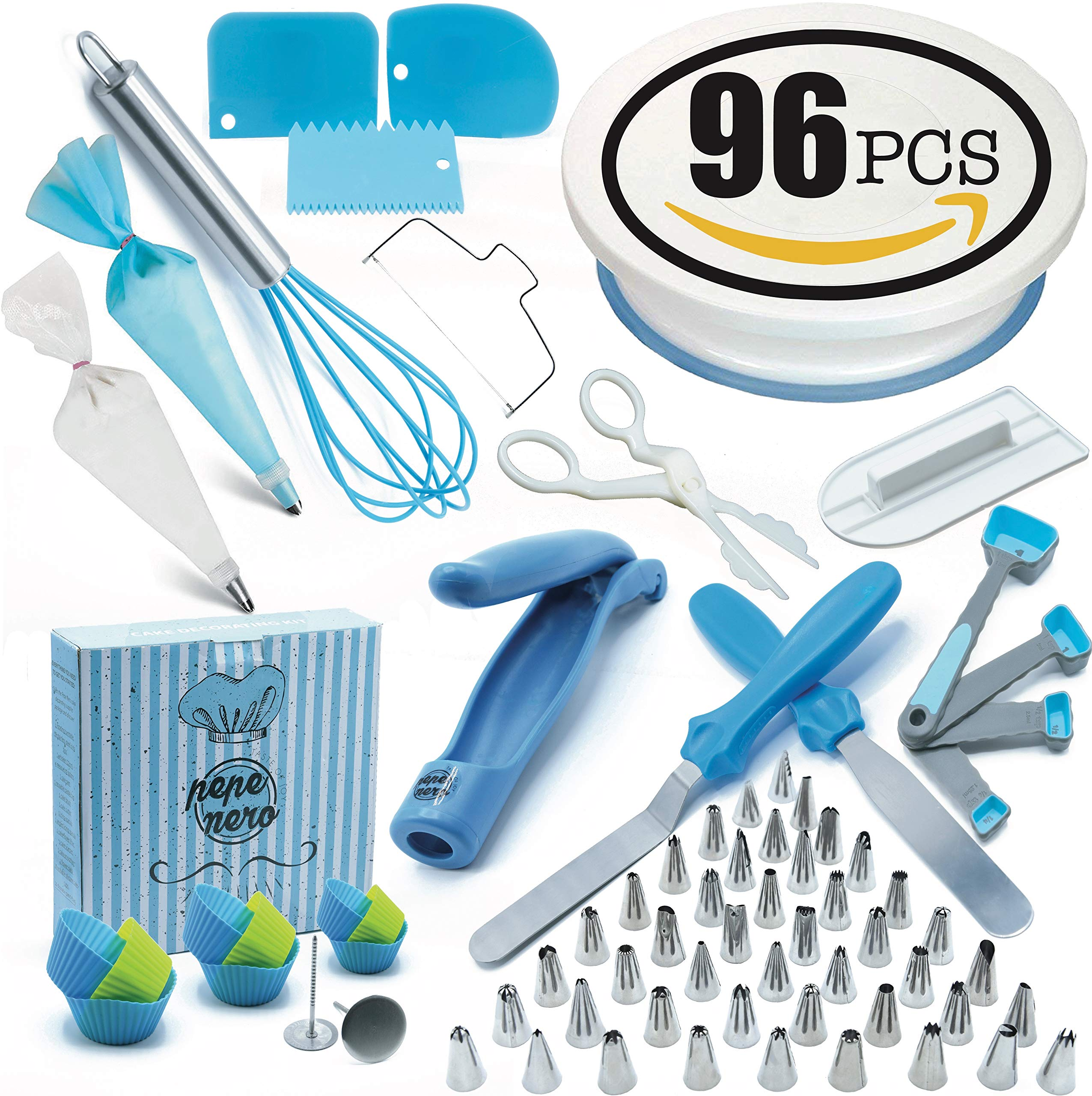 Cake Decorating Supplies Set 96 Pcs by Pepe Nero–Icing Tips, Rotating Turntable, Measuring Spoons, Icing, Tools& Others For Birthdays,Cookies,Piping, Baking,Frosting, Pastry, Cupcakes, Weddings & more