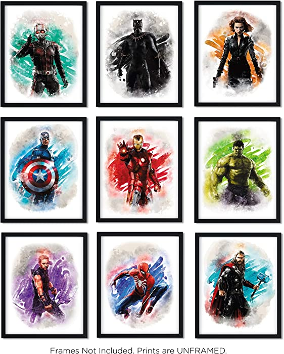 Avengers Superhero Watercolor Art Prints (Unframed) | Great Gift Set of 9 (8x10) | Set 1