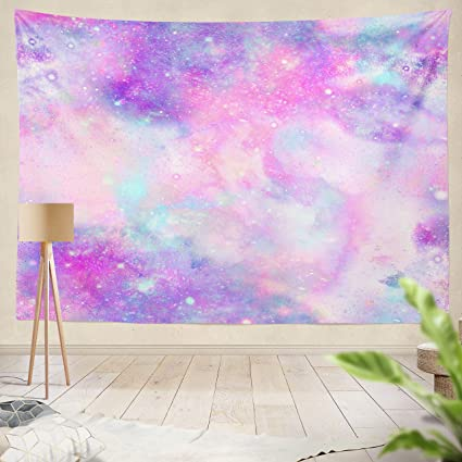 ONELZ Decor Collection, Marbled Galaxy Galaxy Pink Purple Repeat Abstract  Blue Bright Color Colorful Bedroom Living Room Dorm Wall Hanging Tapestry  ...
