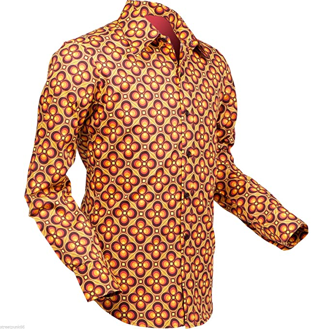 1960s Style Men's Clothing Chenaski Mens 60S 70S Dotsgrid Psychedelic Pop Art Shirt VTG $54.95 AT vintagedancer.com