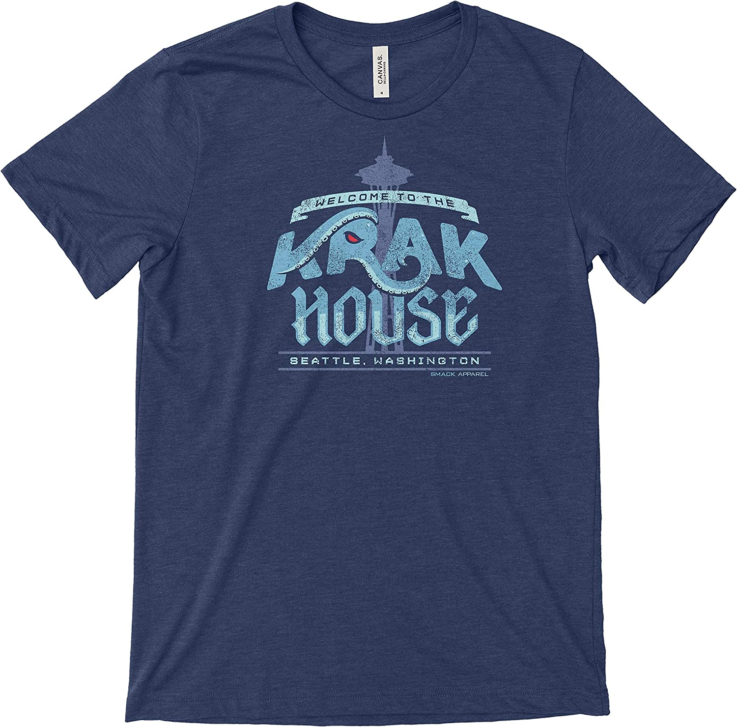 Smack Apparel Seattle Hockey Fans Heather Navy T-Shirt Welcome to The Krak House Sm-5X