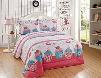 Kids Zone Home Linen 5pc Twin Comforter Set for Girls Turquoise Cupcake  Pink Green White Pink Dots Flowers