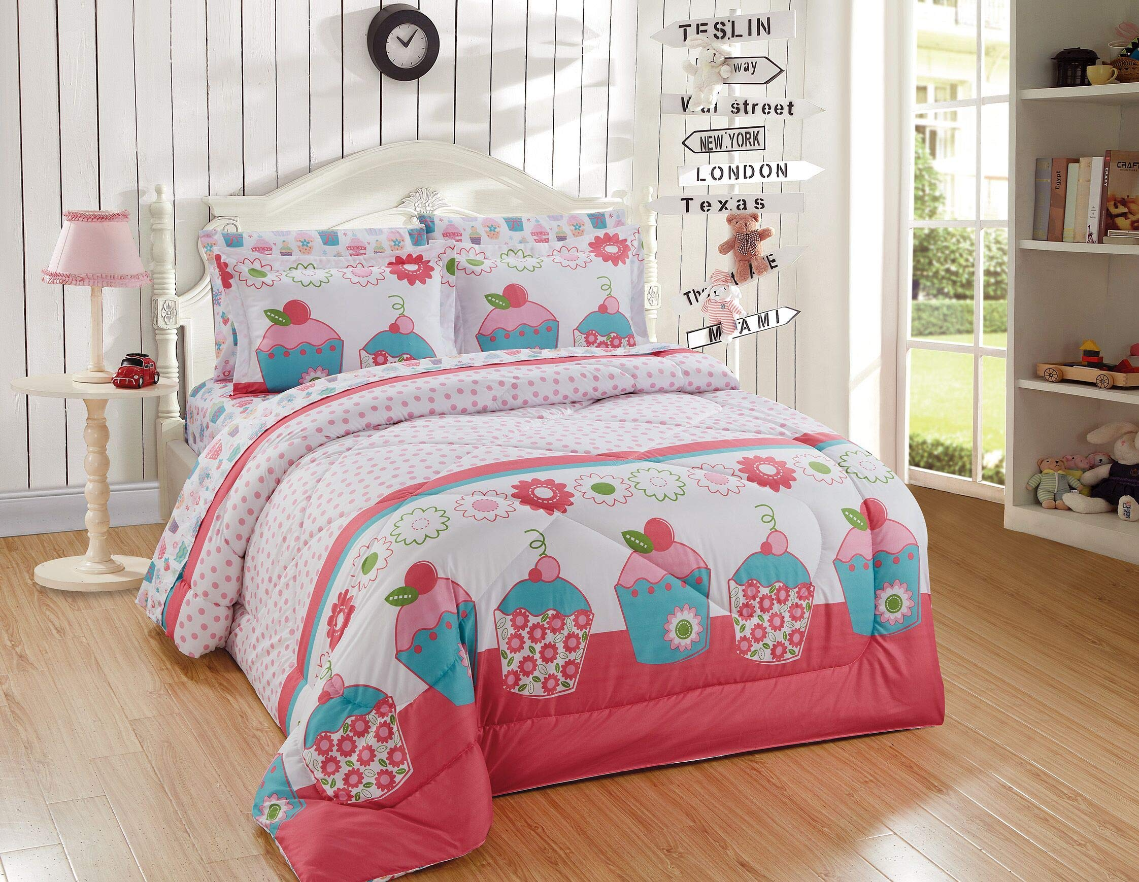 Kids Zone Home Linen 7pc Full Comforter Set for Girls Turquoise Cupcake Pink Green White Pink Dots Flowers by Kids Zone Home Linen