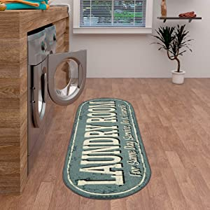 "Ottomanson Laundry Collection Area Rug, 20""X59"" Oval, Grayish Blue Design"