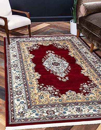 Unique Loom Narenj Collection Classic Traditional Medallion Textured Burgundy Area Rug 13 0 x 19 8