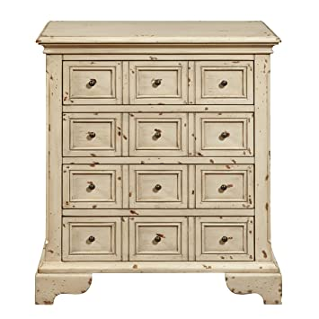 Pulaski DS P017031 Distressed Apothecary Drawer Chest, Antique White