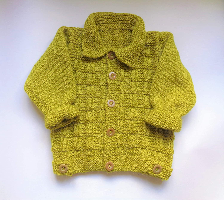 Boys Jacket Cardigan 12 18 months Green Hand Knit: Amazon.co