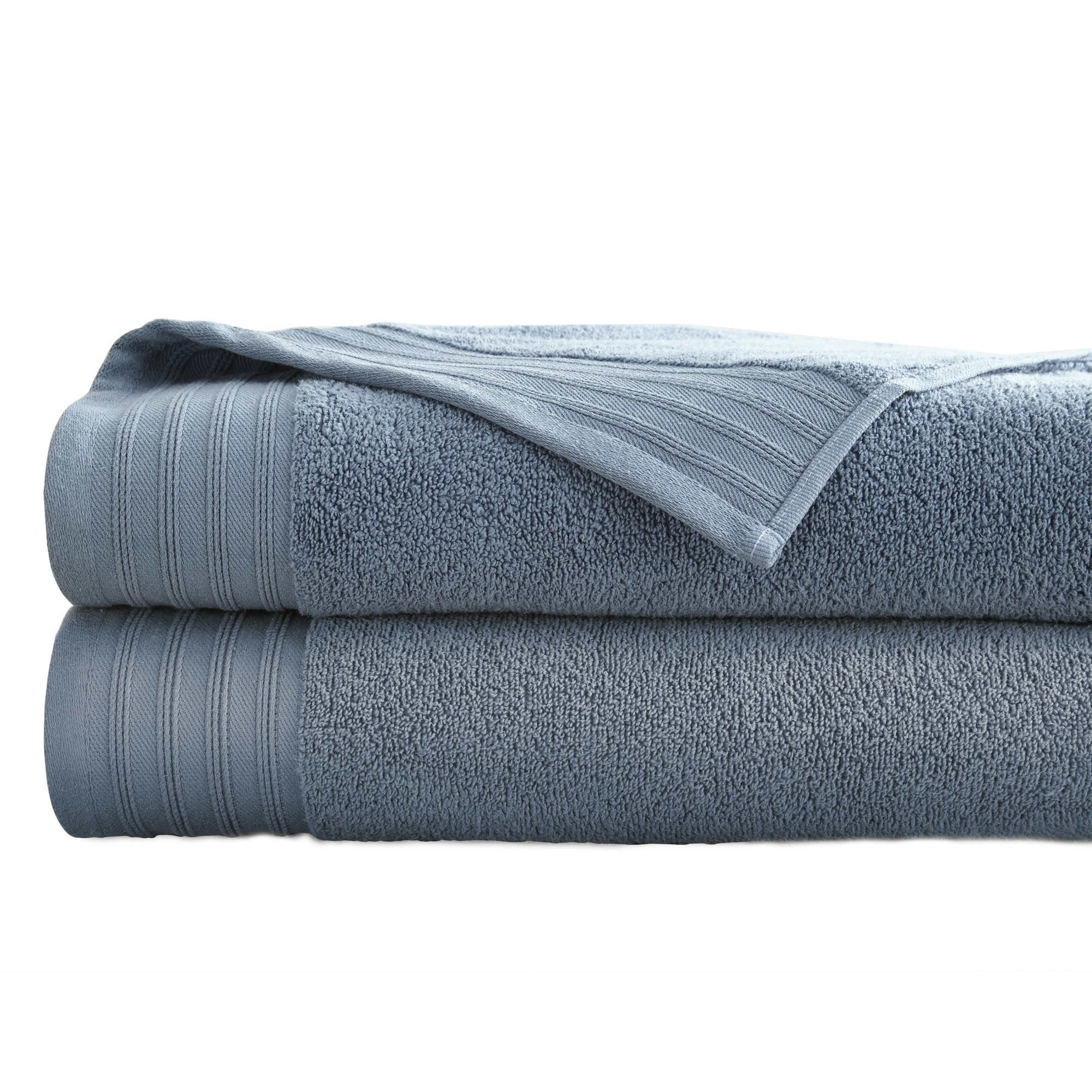 Amrapur Overseas 2-Pack 100% Combed Cotton Super Soft Oversized 450GSM Quick-Dry Bath Sheet Set [Denim]