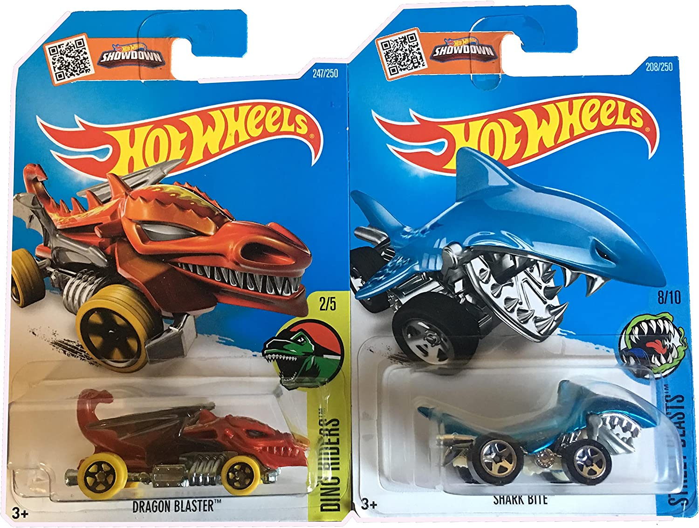 Hot Wheels 2016 Dino Riders Tiburón Bite & Dragon Blaster 2-Car ...