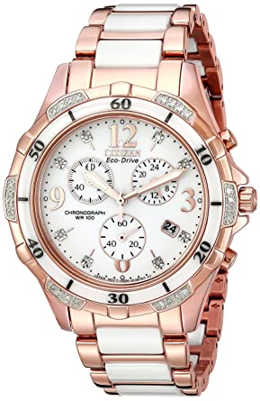 Citizen Women s Eco-Drive Rose-Gold Tone Chronograph Watch with Diamond  Accents 4692039aae