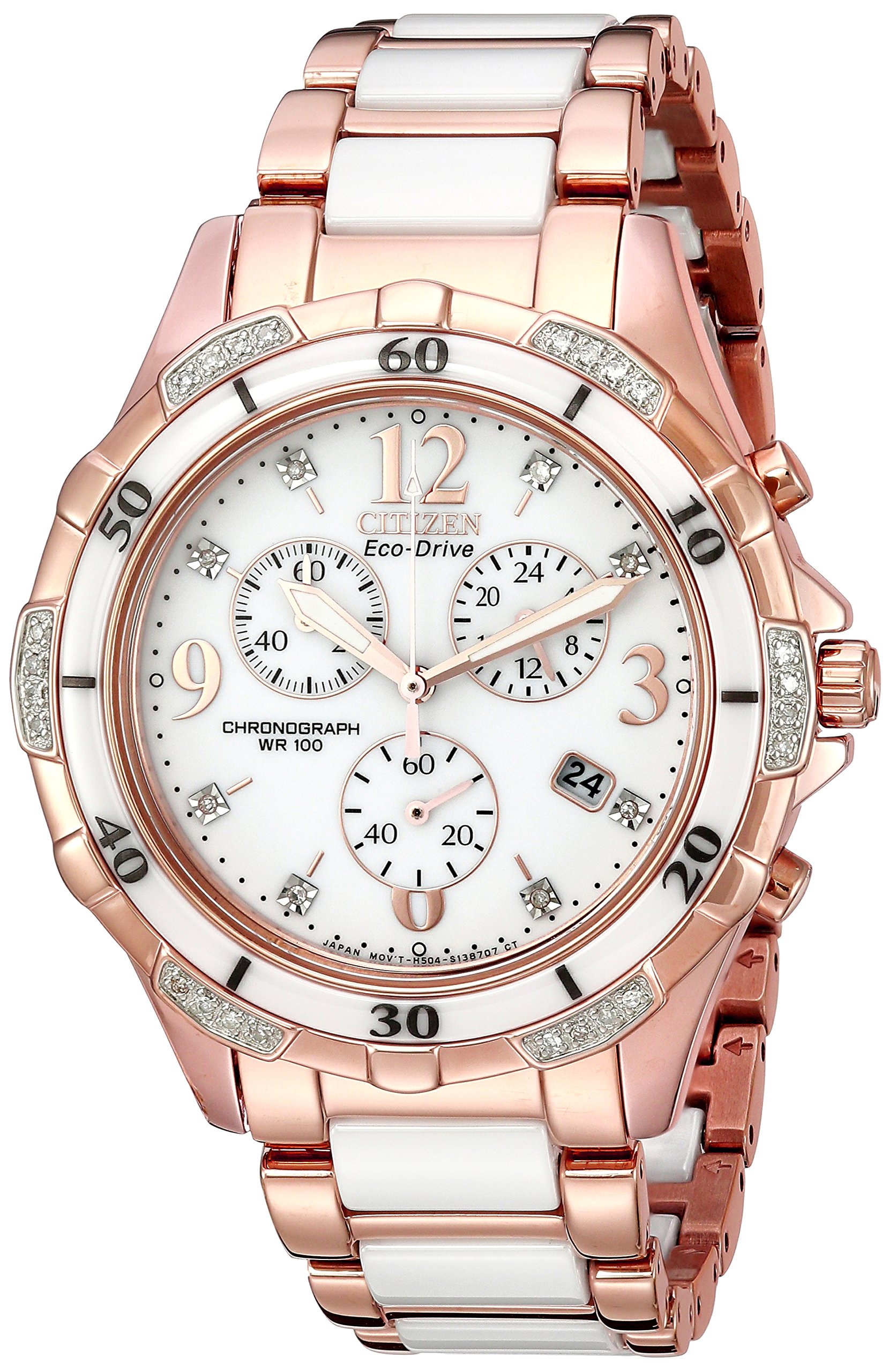 Citizen Eco-Drive Women's Ceramic Analog Display Japanese Quartz Rose Gold Watch (Model: FB1233-51A)