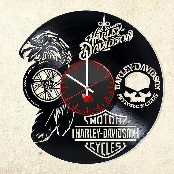 Harley Davidson reloj de pared de disco de vinilo – Get – salón pared decoración ideas de regalo para los niños, Hombres – Bicicleta único arte moderno (1): Amazon.es: Hogar