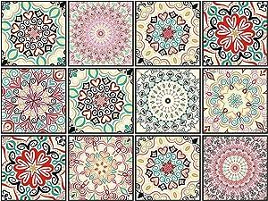 Decorative Tile Stickers Set 12 Units 6x6 inches. Peel & Stick Vinyl Waterproof Tile Look Stickers.Backsplash. Home Decor. Furniture Decor. Staircase Decor