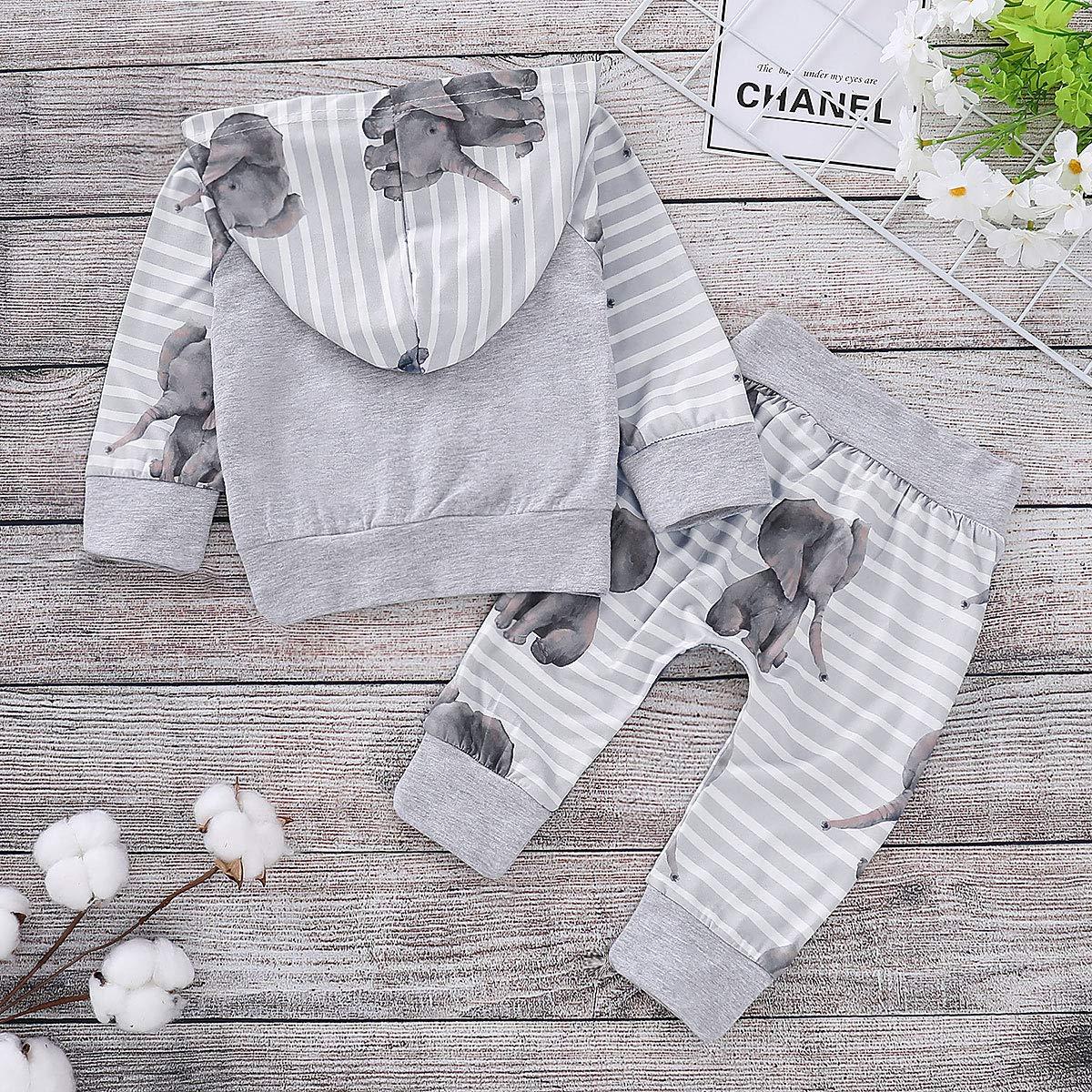 Conjunto de Traje de ch/ándal con Capucha y Pantalones de Sudadera con Capucha de Elefante para beb/é reci/én Nacido y ni/ña