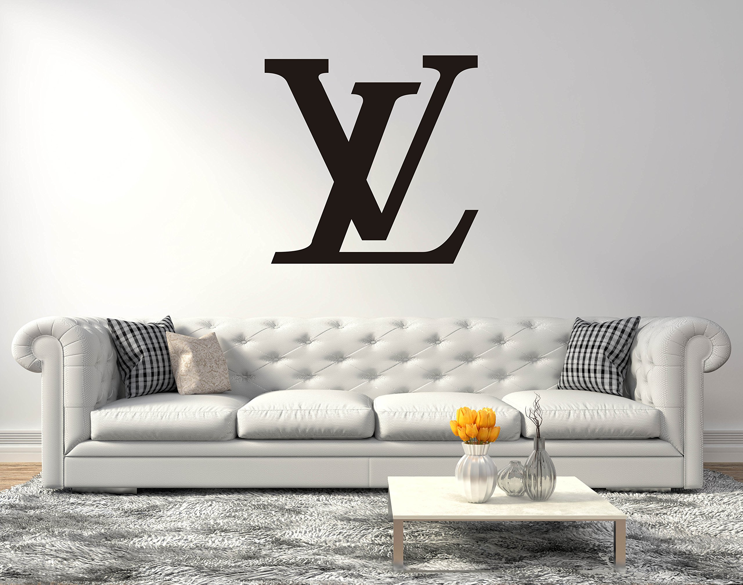 Fashion Design Logo LV - Wall Decal for Home Living Room or Bedroom Decoration (Wide 20''x20'' Height Inches)