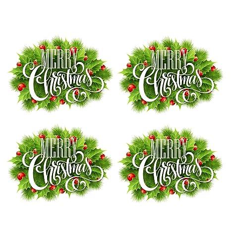 Miysneirn 4 Pcs Christmas Wreath Decal Sticker 3d Christmas Stickers Christmas Garland Decorations Merry Christmas Wall