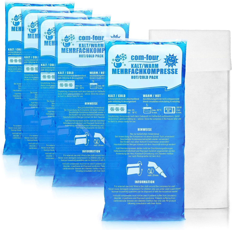 com-four® 5X Compresas múltiples de Gran tamaño con Funda de Lana, compresas frías y Calientes, 29 x 12 cm. Aptos para microondas (05 Piezas - ...