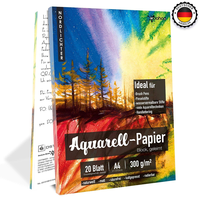 Watercolor Paper/Acuarela Papel como Bloc para acuarela con dos estructuras [DIN A4, 300g 20hojas] encolado en Natural Color Blanco–adecuado para brocha lápices/Brush Pens