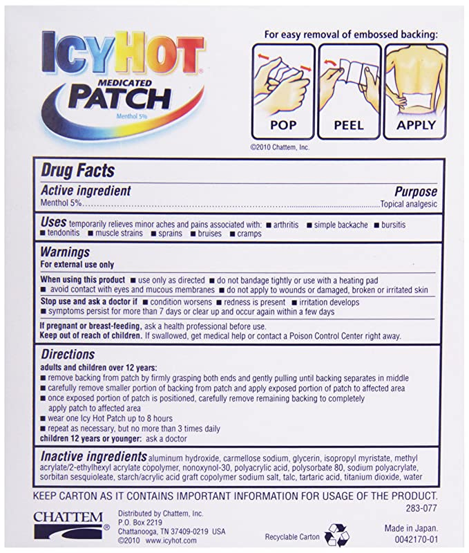 Icy Hot Topical Analgesic Back Patch 5 Ct Amazon Health