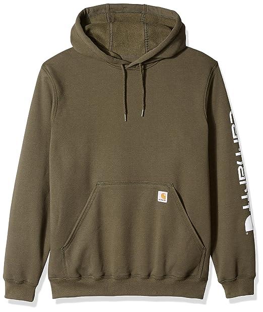 0a69dfdd1 Carhartt Men's Midweight Signature Sleeve Logo Hooded Sweatshirt K288