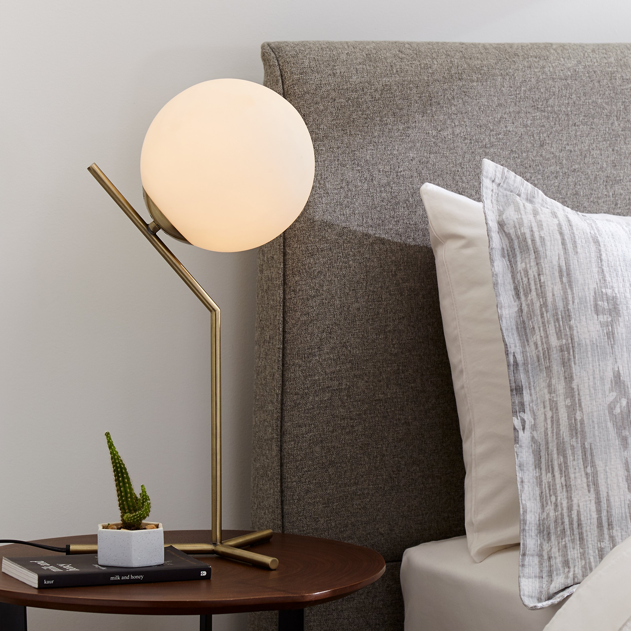 Rivet Glass Ball and Angled Metal Table Lamp with Bulb, 21.5''H, Brass by Rivet (Image #3)