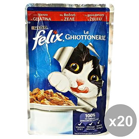 Felix Set 20 ghiottonerie Manzo 100 gr. Bolsita Comida para Gatos