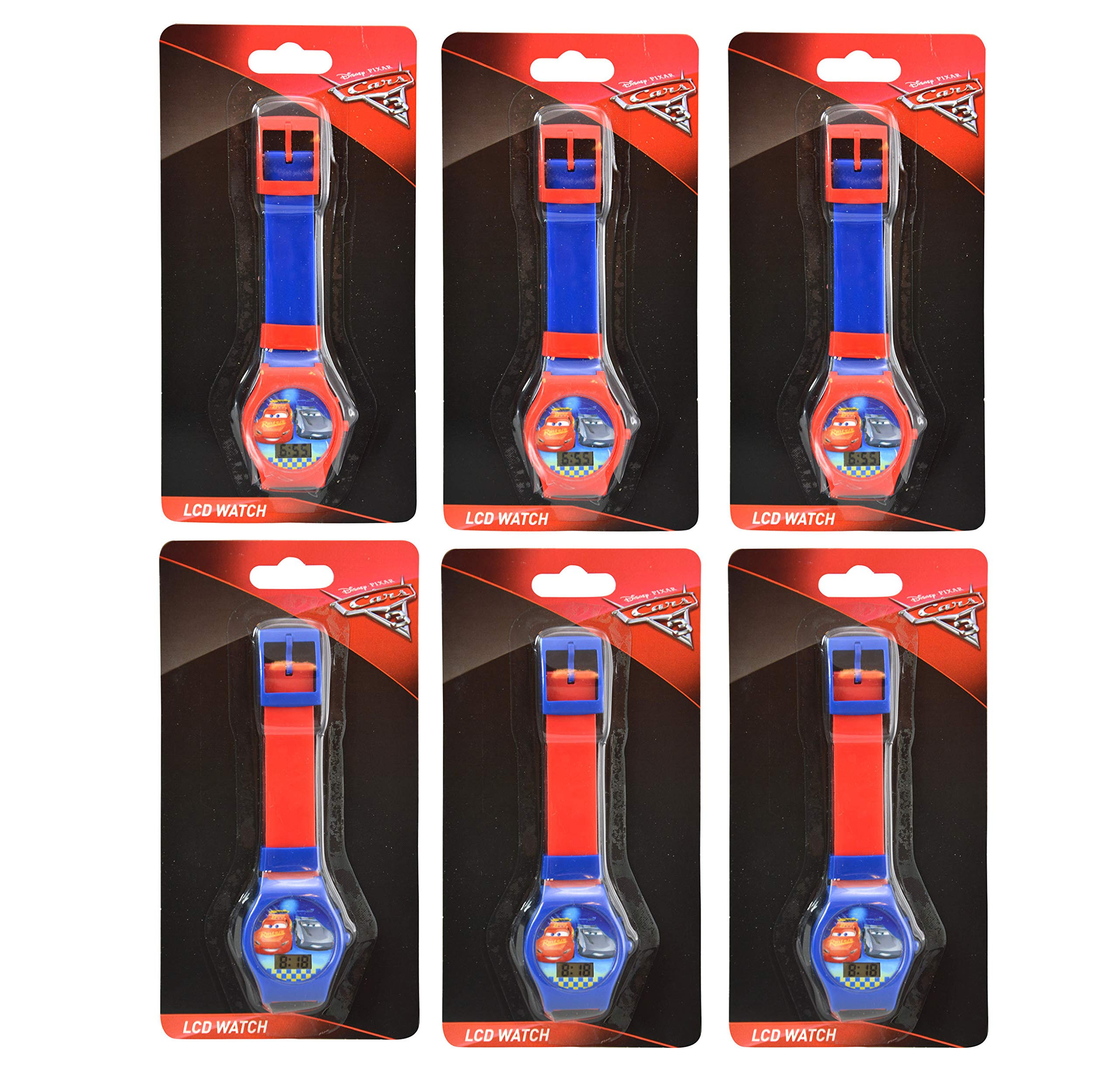 Karacter Box Disney Cars 3 LCD Digital Watch, 6-Pack Party Favors