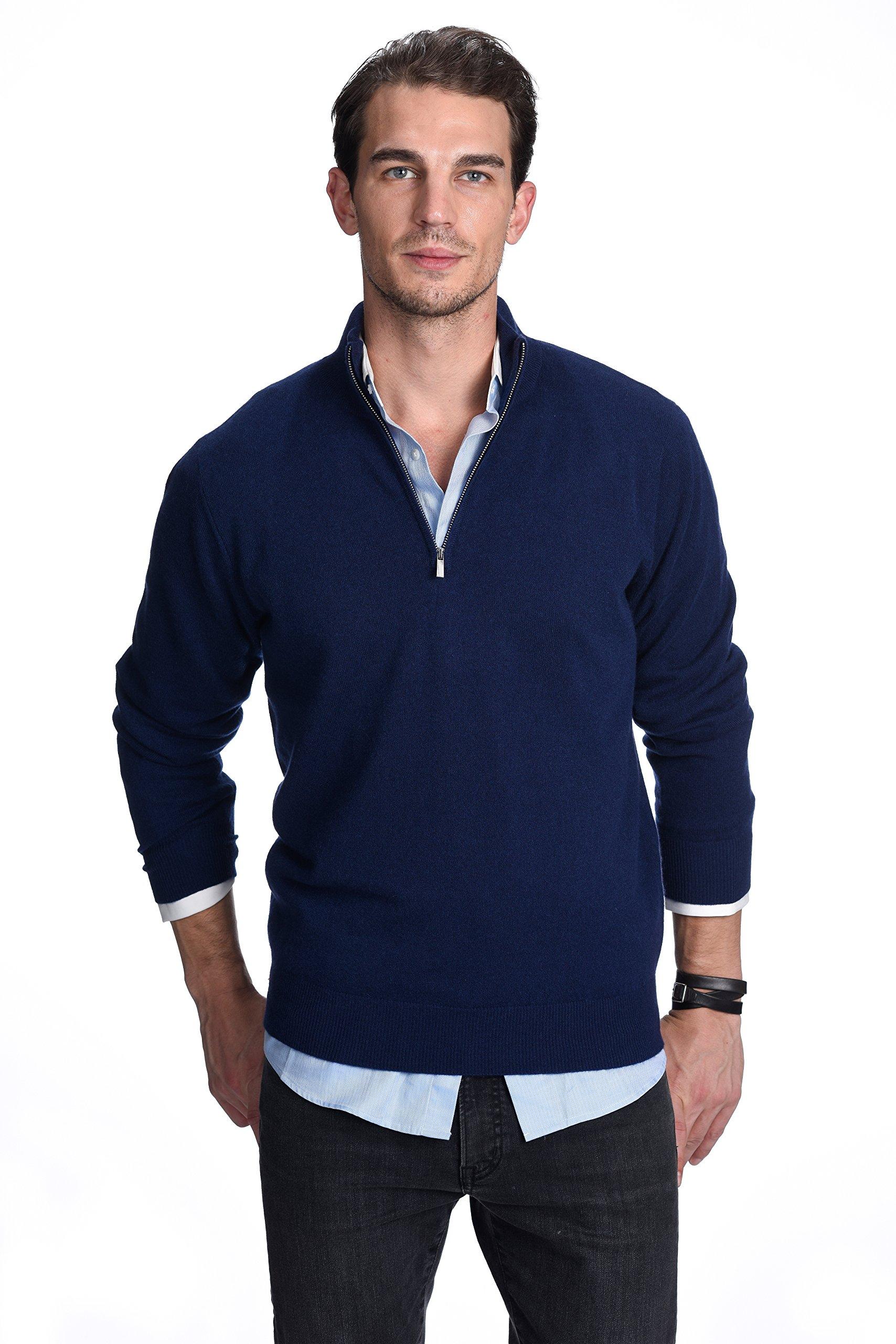 State Cashmere Men's 100% Pure Cashmere Pullover Half Zip Mock Neck Sweater (Medium, Navy Blue)