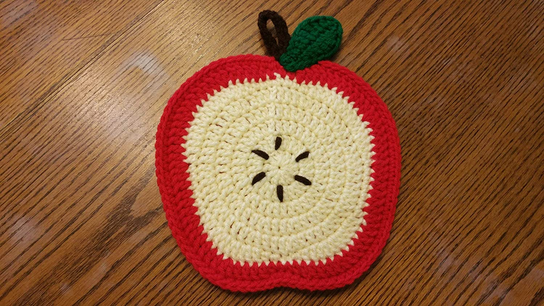 Crochet Hot Pad Gift for Her Crochet Pot Holder Country Decor Gift for Mom Apple Pot Holder Apple Hot Pad Gift for Grandma