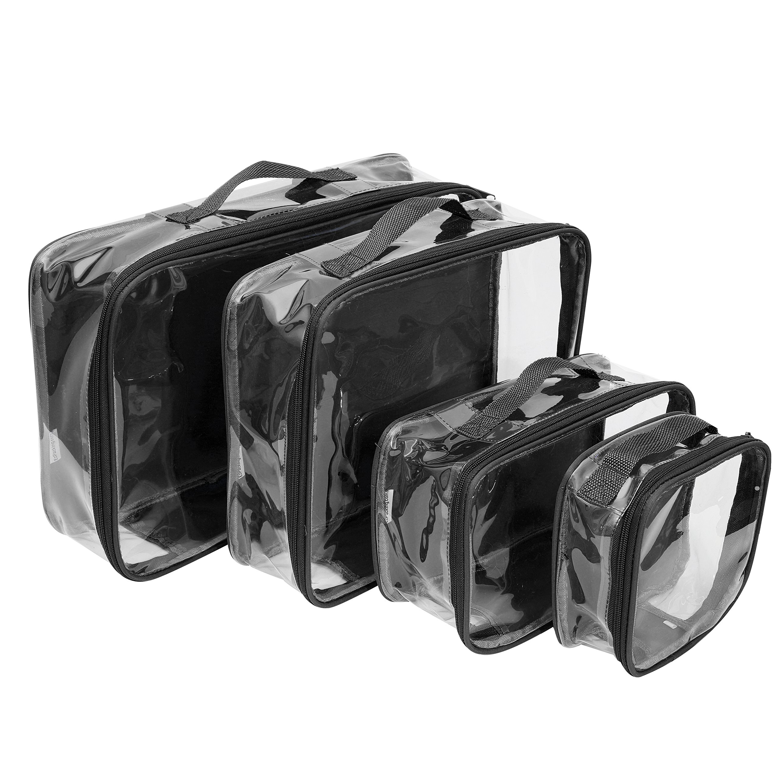 Clear Packing Cubes set of 4/Packs 7-10 Days of Clothes/Premium PVC Plastic Storage Cube (Black)