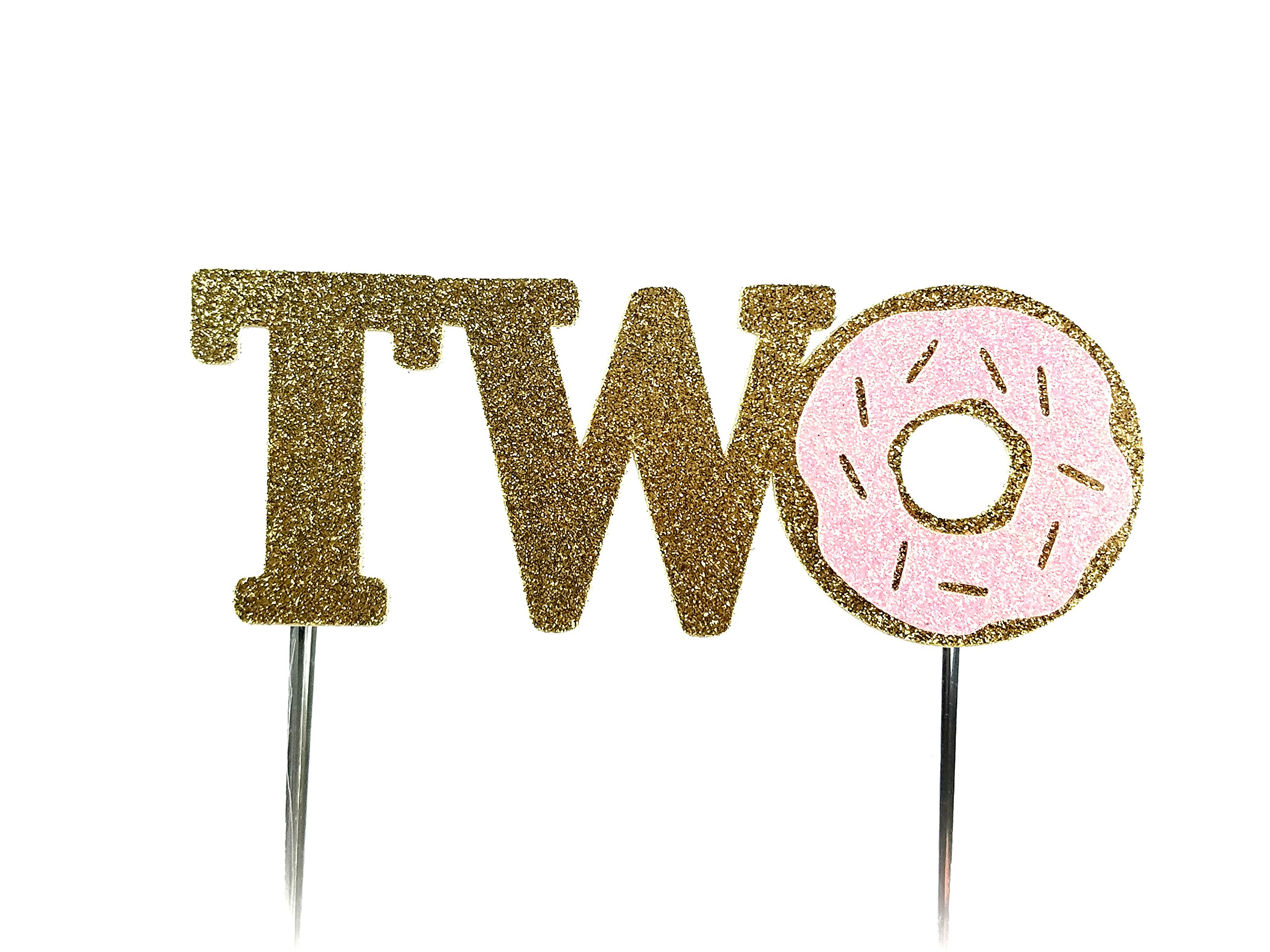 Handmade 2nd Second Donut Birthday Cake Topper Decoration - two - Made in USA with Double Sided Gold Pink Glitter Stock