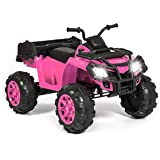 Best Choice Products 12V Powered Extra Large Kids ATV Quad 4 Wheeler Ride On Spring Suspension MP3 Lights Storage (Pink)