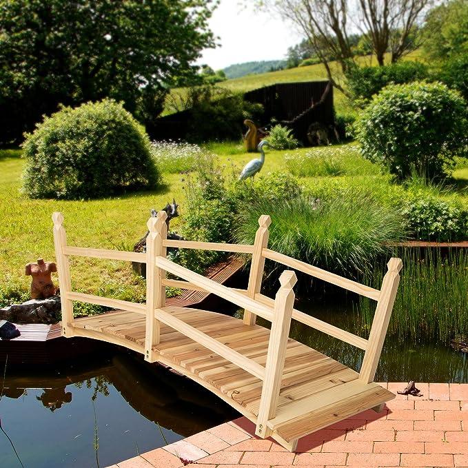 TecTake Puente de jardín Puente para Estanque de Madera Aprox. 140 cm de Largo: Amazon.es: Hogar