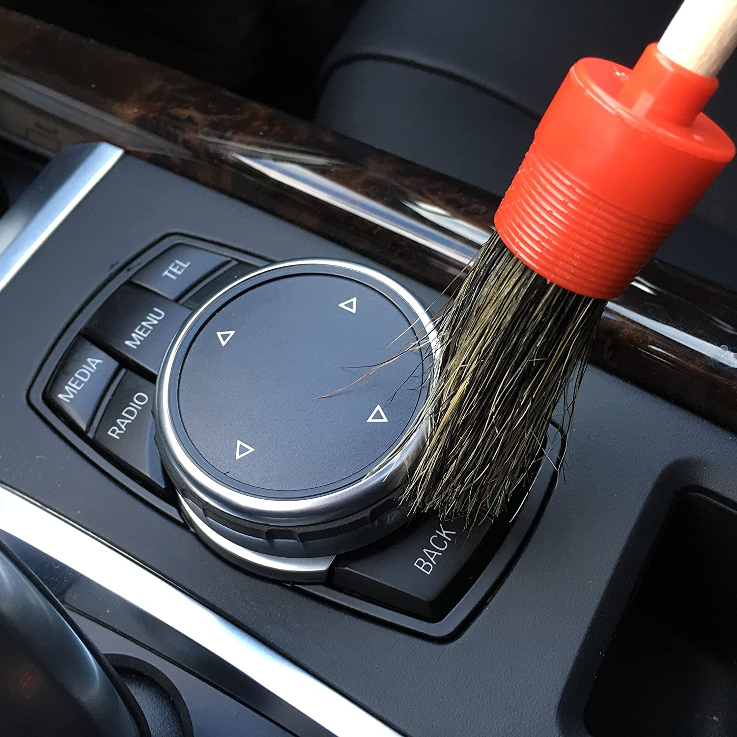 Air Vents - Perfect for Wheels Natural Boar Hair Detail Brush Set of 3 Interior Emblems