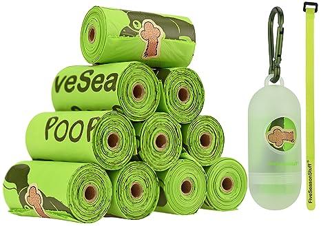 FiveSeasonStuff Leak Proof Bolsas para Excremento de Perro, Biodegradable y compostablemeses (165 Bolsas), Incluye 1 Dispensador/Soporte para Bolsa de ...