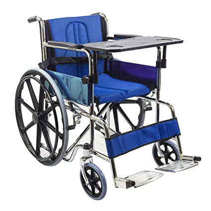4701ded4276 Buy Kosmocare Foldable Dura Mag Wheelchair With Soft Cushion   Seat Belt  For Additional Comfort-Blue Online at Low Prices in India - Amazon.in