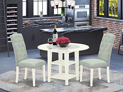Amazon Com 3pc Dinette Set Includes A Round Dining Table With Drop Leaves And Two Parson Chairs Baby Blue Fabric Linen White Finish Furniture Decor