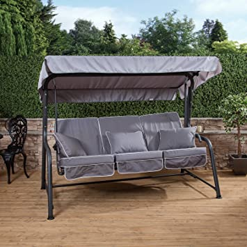 Merveilleux Alfresia Turin 3 Seater Garden Reclining Swing Seat   Charcoal Frame With  Luxury Cushions In A