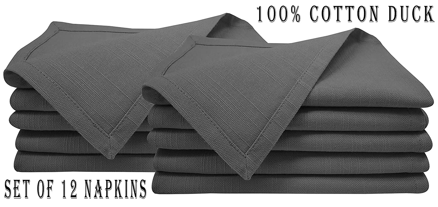 Linen Clubs 12Pack Slub Cotton Duck Napkin with 1 Normal Fold 18x18 Charcoal