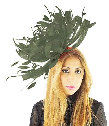 Large Sinamay and Feather Ascot Fascinator Hat - Army Green at ... c3921bed0871