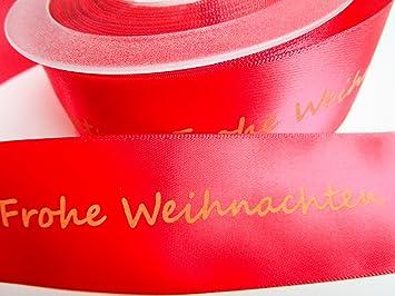 Geschenkband Frohe Weihnachten.Capiso Geschenkband Schleifenband Weihnachten Mit Schrift Frohe Weihnachten Rot 25m X 40mm