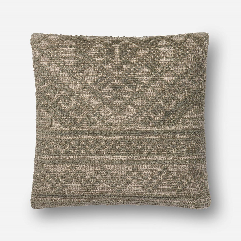 Loloi P0551 Cotton /& Wool Pillow Cover Loloi Rugs P037P0551GR00PIL3