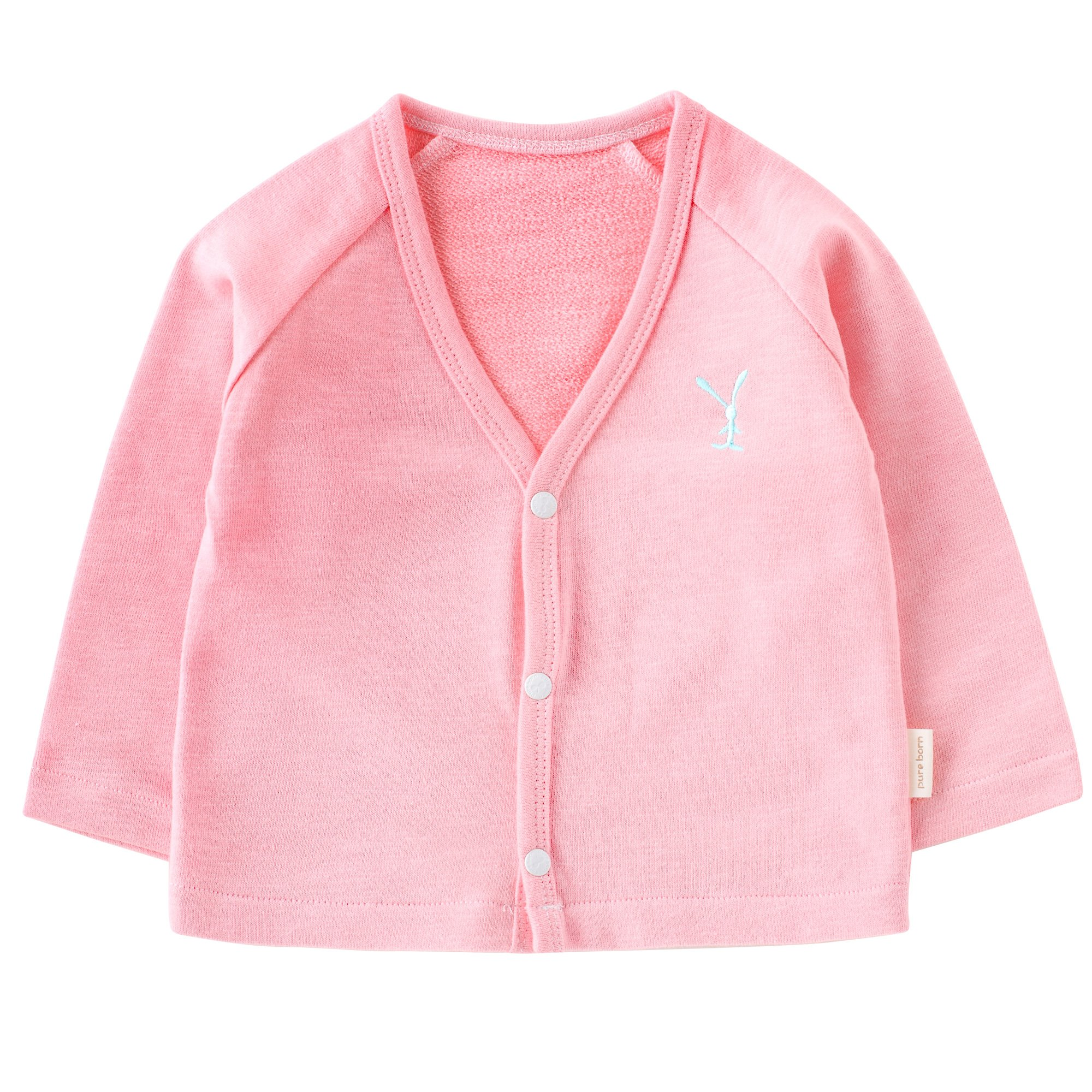pureborn Baby Girls V-Neck Solid Cardigan Sweater Kid Cotton Clothes Coats Outwear Autumn Pink 3-6 Months