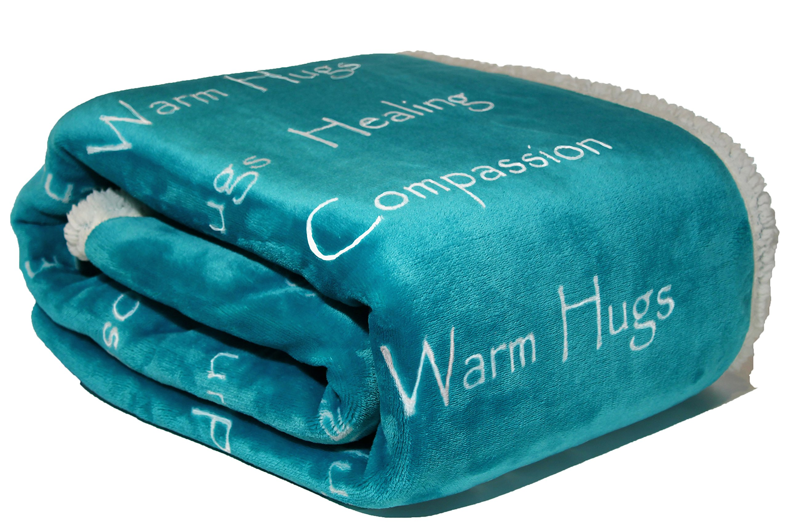 Wolf Creek Blanket Breast Cancer Gift Blanket Get Well Gift for Women Men Warm Hugs Healing Thoughts Positive Energy Courage Soft Fluffy Comfort Caring Throw-Teal